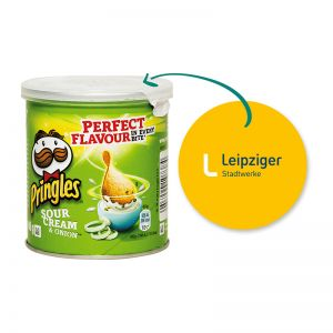 40 g Mini Pringles Sour Cream & Onion mit Werbeflyer und Logodruck