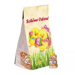 40 g Schoko-Hasen im Standbeutel mit Werbereiter
