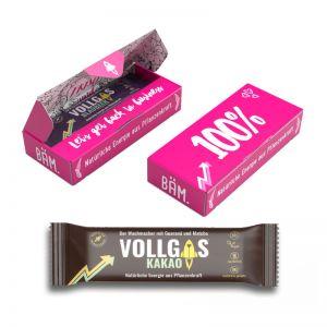 40 g Veganer Bio-Frucht Riegel Kakao in Werbekartonage mit Logodruck