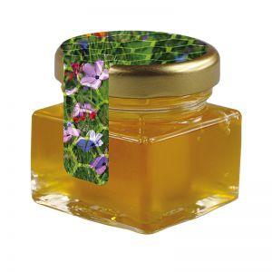 40 ml Bio Wildblumenhonig im Glas mit Siegeletikett und Logodruck
