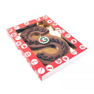 400 g Schokoladen S-Buchstabe mit Logo im Geschenkkarton mit Sichtfenster