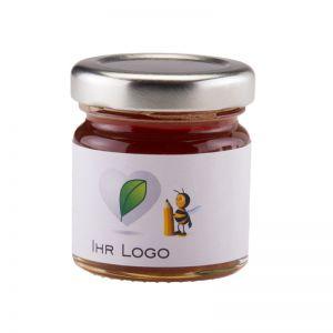 45 g Kastanienhonig im Glas mit Banderolenetikett und Logodruck