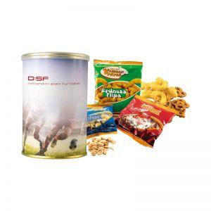 48 g Fußball Snacks in Metalldose mit Werbebanderole