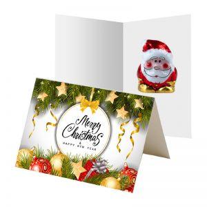 5 g Bio Schoko-Weihnachtsmann in bedruckbarer Klappkarte
