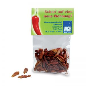 5 g Chilischoten im Tütchen mit Werbereiter und Logodruck