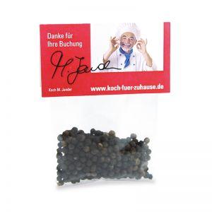 5 g Schwarze Pfefferkörner im Tütchen mit Werbereiter und Logodruck
