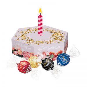 50 g Lindor Pralinés in 6-Eck Präsentbox mit Papp-Kerze und mit Werbedruck