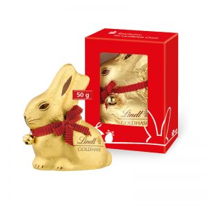 50 g Lindt Goldhase in Werbekartonage mit Logodruck