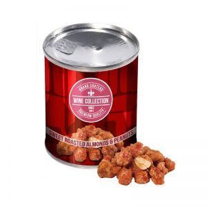 50 g Mandeln und gebrannte Erdnüsse in einer Dose mit Werbe-Banderole
