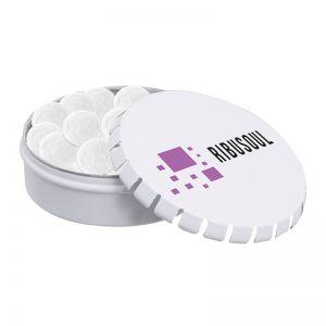 50 g Pfefferminzpastillen in Fußball-Form in Metalldose mit Logodruck