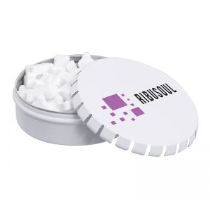 50 g Pfefferminzpastillen in Knochen-Form in Metalldose mit Logodruck