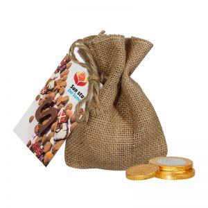 50 g Schokoladenmünzen im Jutesack mit Werbekarte
