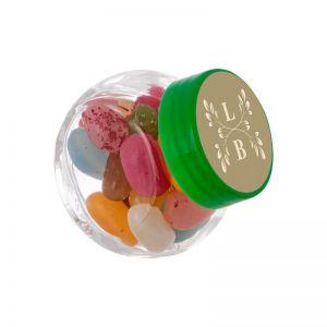 50 ml Schräghalsglas befüllt mit Jelly Beans und mit Werbeetikett