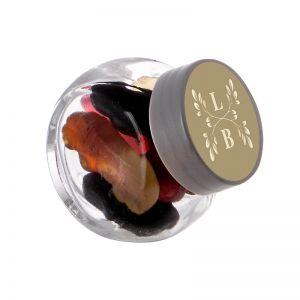 50 ml Schräghalsglas befüllt mit Lakritze in PKW-Form und mit Werbeetikett
