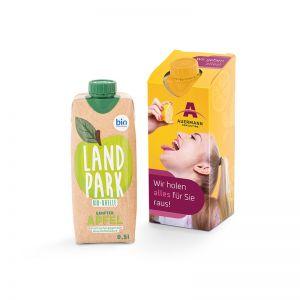 500 ml Landpark Bio Mineralwasser Sanfter Apfel Tetrapack im Werbekarton