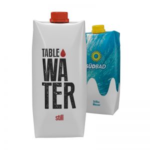 500 ml Tafelwasser still im Tetra Pak mit Werbedruck