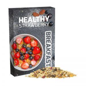 60 g Bio Müsli Erdbeerechen im Portionskarton mit Werbedruck