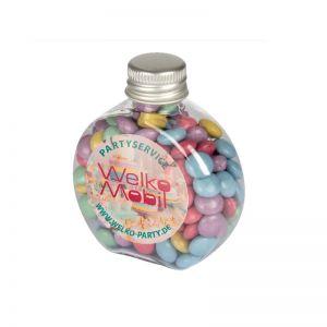 60 g Bunte Schoko-Linsen Vegan in Candy Bottle mit Werbeetikett