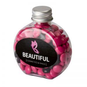 60 g farbige Schoko-Linsen in Candy Bottle mit Werbeetikett