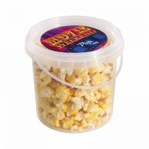 60 g salziges Popcorn im transparenten Eimer mit Werbe-Etikett