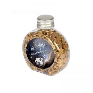 60 g Schoko-Goldsternchen in Candy Bottle mit Werbeetikett