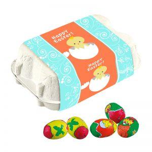 6er bunte Schoko-Ostereier in Eierkartonage mit Werbebanderole