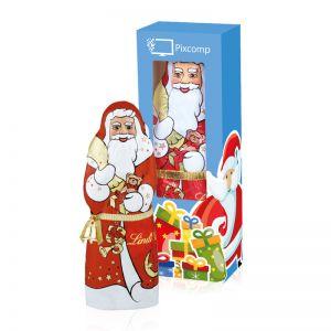 70 g Lindt Schoko Weihnachtsmann mit Glöckchen und Werbedruck