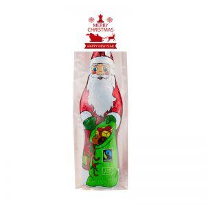 75 g Bio Schoko Weihnachtsmann im Flachbeutel mit Werbereiter