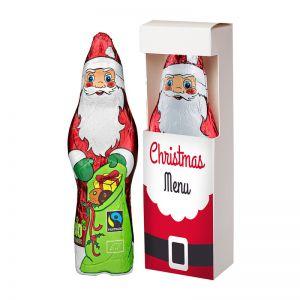 75 g Bio Schoko Weihnachtsmann in Sichtfenster-Faltschachtel mit Logodruck