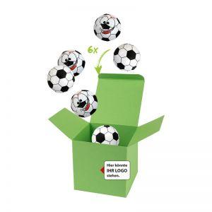 75 g Schoko-Fußbälle in Color-Kicker-Box mit Logodruck