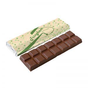 75 g Schokoladentafel mit recycelter Papierbanderole und Werbedruck
