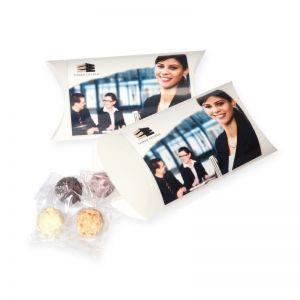 75 g Trüffelpralinen in Kissenverpackung mit Logodruck