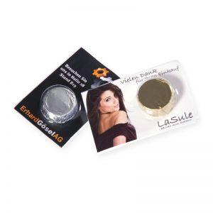 8 g Premium-Praline in Blisterverpackung mit Werbebedruckung