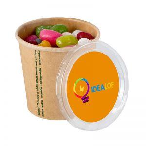80 g Jelly Beans in Bio-Becher mit Deckel und Werbeetikett