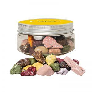 80 g Kakao Kieselsteine in Sweet Dose mit Werbe-Flügeletikett