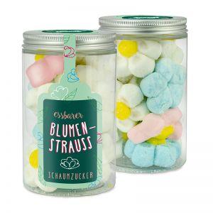 80 g Marshmallow-Blumen in transparenter Dose mit Werbe-Etikett