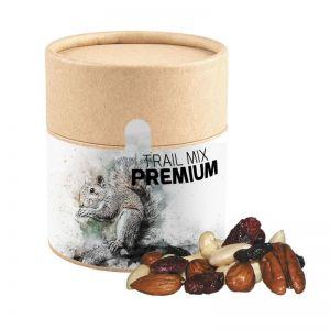 80 g Premium Studentenfutter in Öko-Pappdose mit Werbe-Banderole