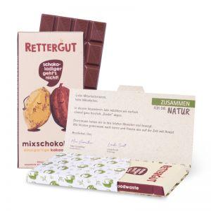 80 g Tafel Rettergut Mixschokolade in Mailingmappe mit Logodruck