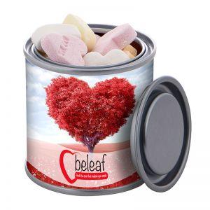 83 g Fruchtherzen in Mini-Farbdose mit Werbebanderole