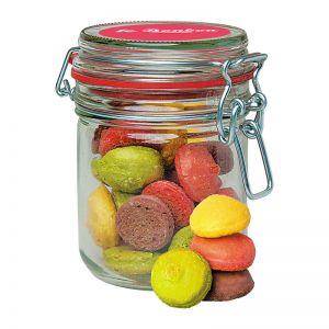 85 g Macaron-Gebäck im Bügelglas mit Werbeetikett