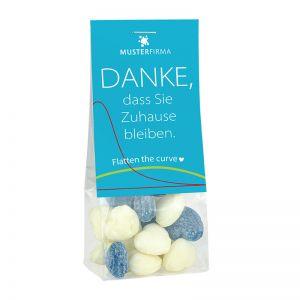 #flattenthecurve Naschbeutel blau-weiß mit Werbereiter