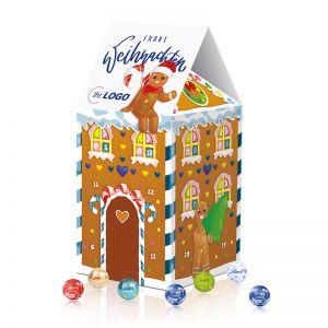 Adventskalender-Haus mit Lindt Minis und Werbedruck