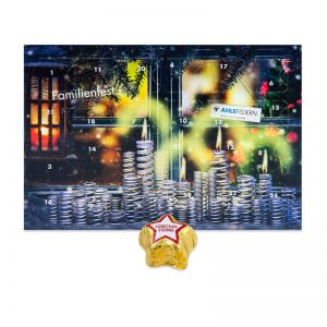 Adventskalender Midi mit Marzipansternen und Werbedruck