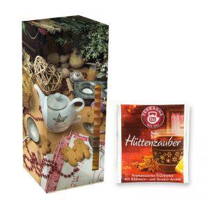 Adventskalender Teekanne Weihnachtstee Hüttenzauber mit Werbedruck