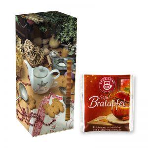 Adventskalender Teekanne Weihnachtstee Süßer Bratapfel mit Werbedruck