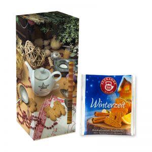 Adventskalender Teekanne Weihnachtstee Winterzeit mit Werbedruck
