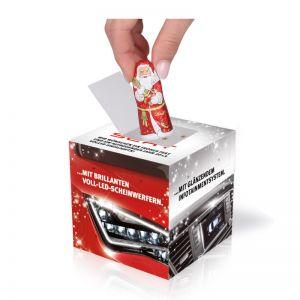 Adventskalener Cube Kugeln und Weihnachtsmann mit Logodruck