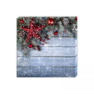Befüllbarer Adventskalender quadratisch 23 kleine Fächer + 1 großes Fach mit Werbedruck
