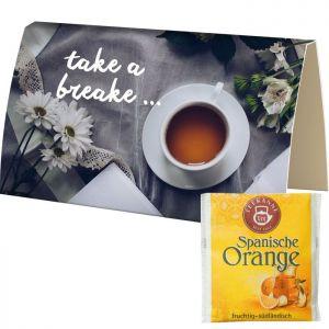 Beuteltee Spanische Orange in bedruckbarer Klappkarte