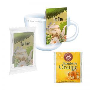 Beuteltee Spanische Orange mit Werbereiter und Bedruckung